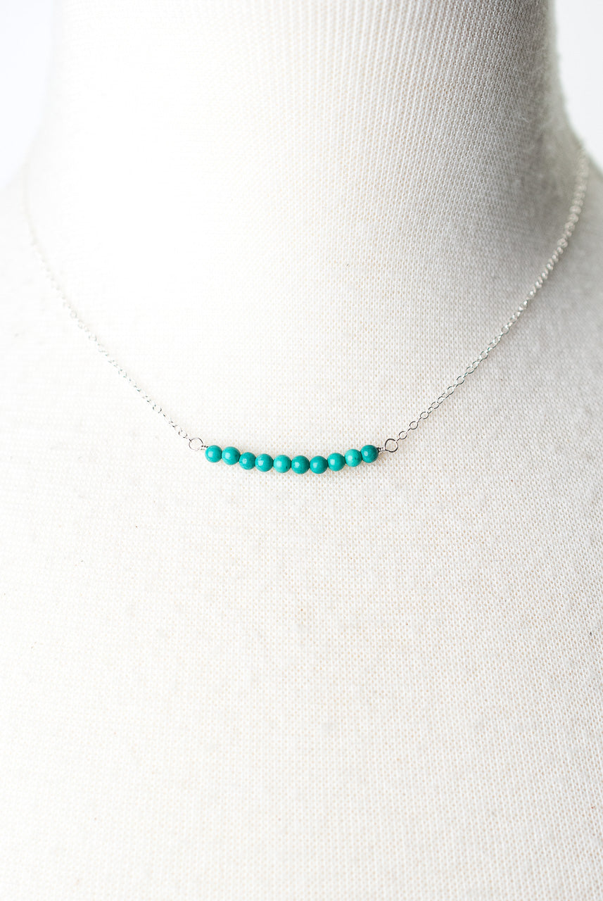 "Birthstone 16-18"" December Silver Turquoise Bar Necklace"
