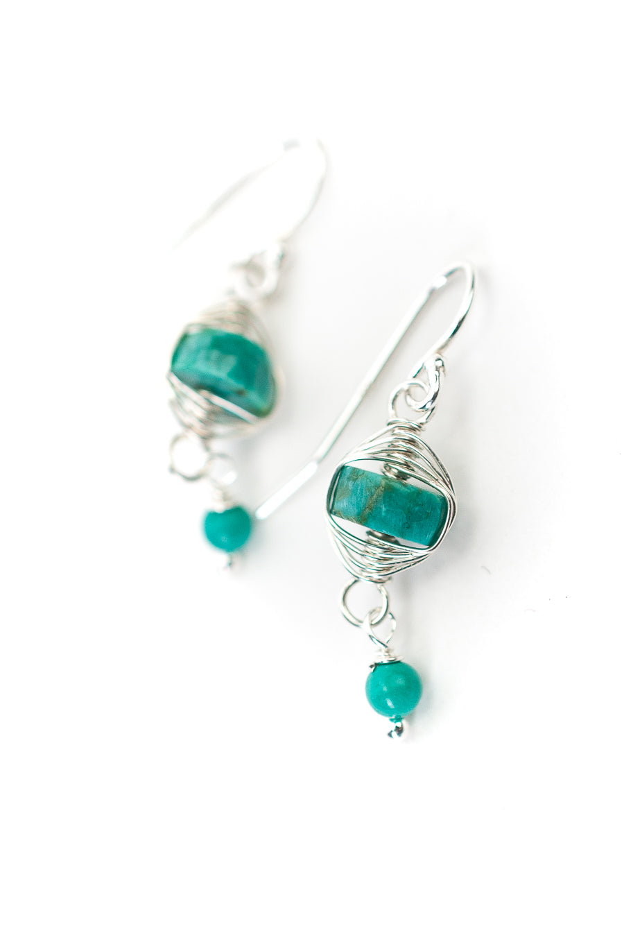 Birthstone December Silver Turquoise Herringbone Earrings