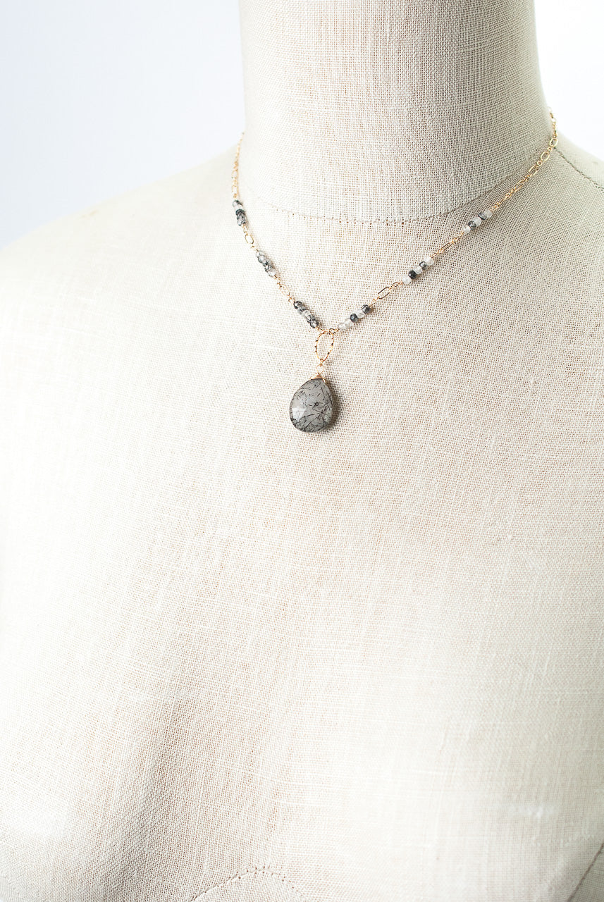 "Limited Edition 15.5-17.5"" Black Rutilated Quartz Focal Necklace"