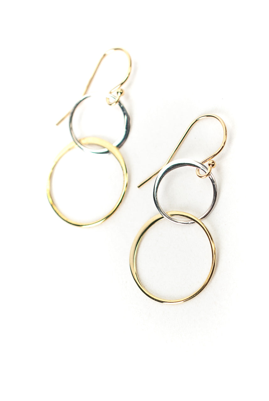 Limited Edition Silver and Gold Double Hoop Earrings