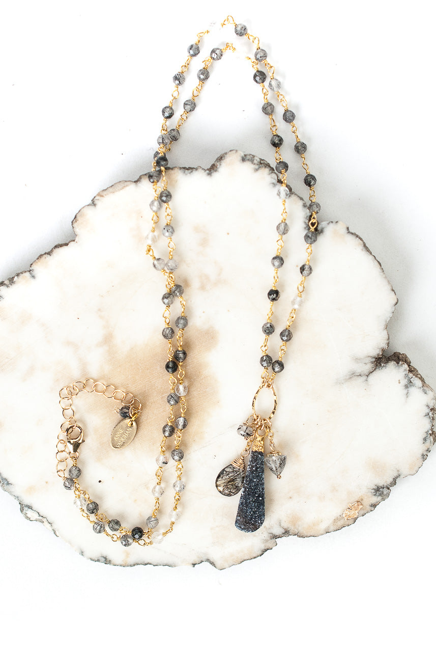 "Limited Edition 24-26"" Black Rutilated Quartz, Black Druzy Tassel Necklace"