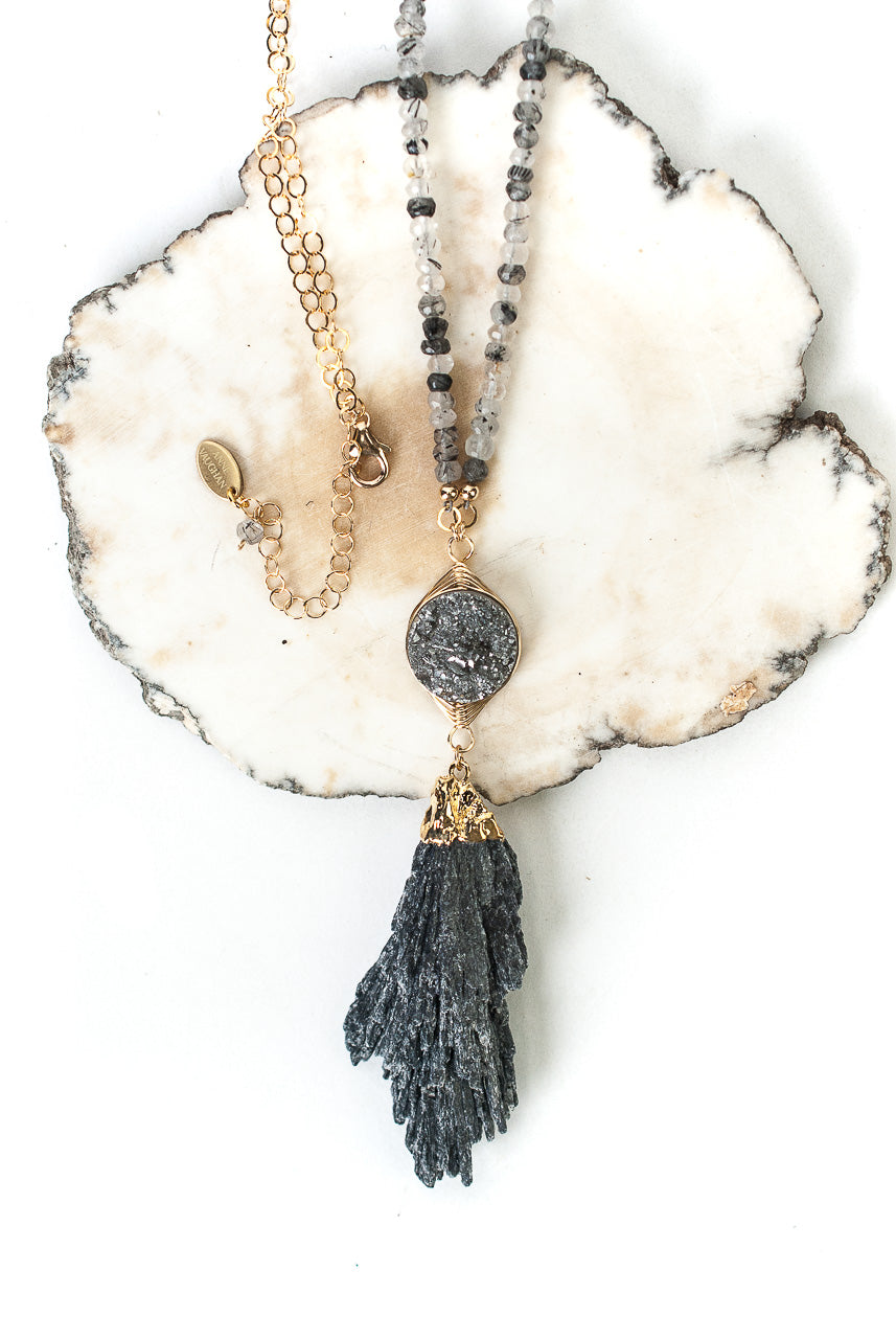 "Limited Edition 30.5-32.5"" Black Rutilated Quartz and Druzy Herringbone Focal Necklace"
