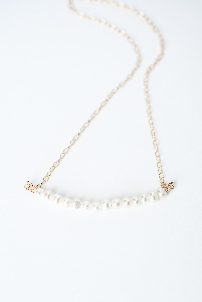 "Bliss 14.5-16.5"" Pearl Bar Necklace"