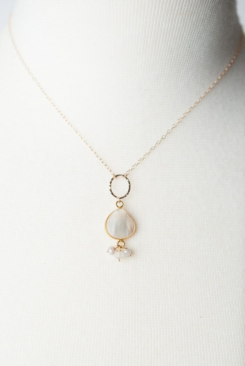 "Bliss 16.5-18.5"" Pearl Bezel Cluster Necklace"