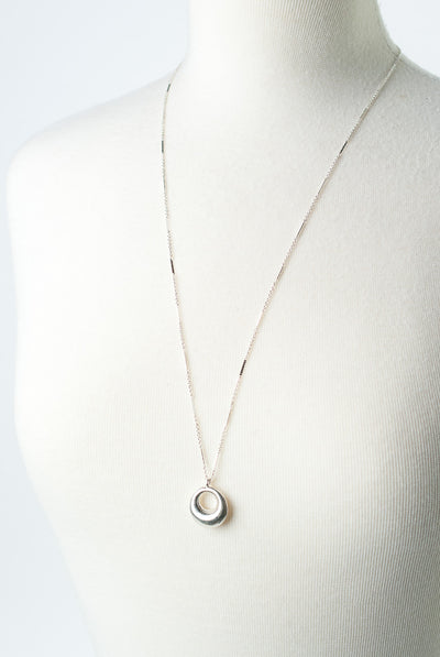 "Bloom 28.5-30.5"" Sterling Silver Crescent Circle Pendant Necklace"