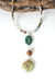 Bloom Adjustable Leather Prehnite Collage Pendant Necklace