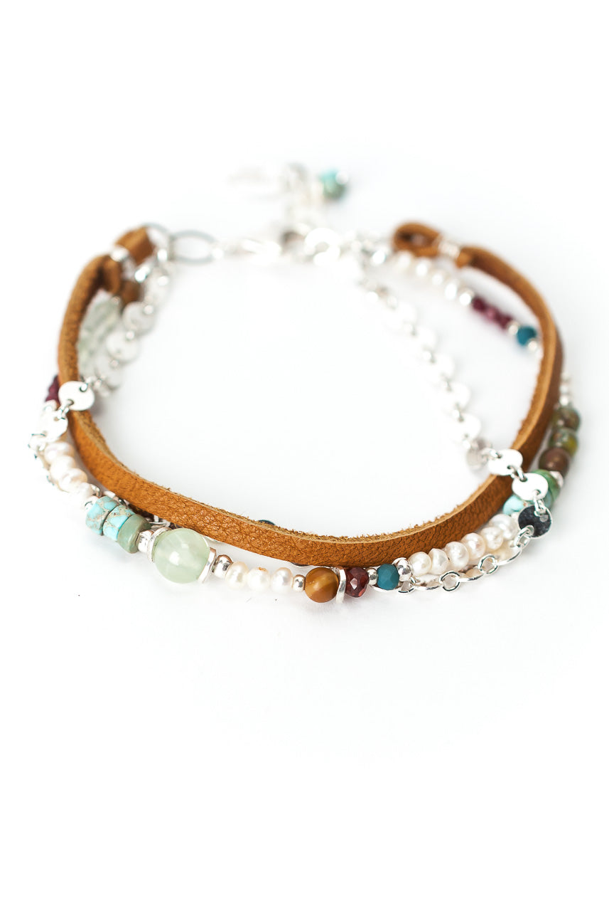 "Bloom 7.5-8.5"" Silver & Leather Multistrand Bracelet"
