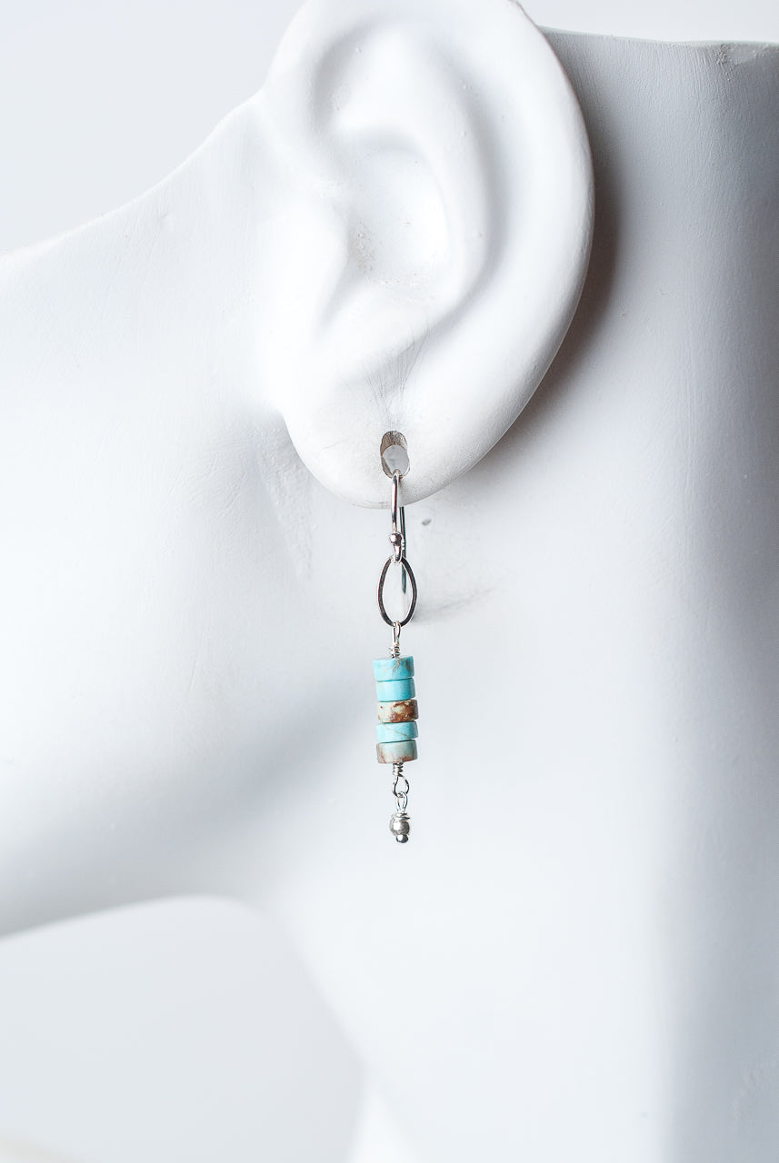 Bloom Silver Turquoise Heishi Stack Dangle Earrings