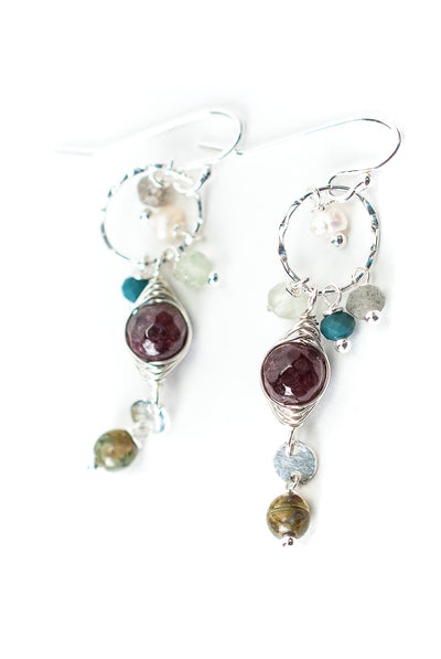 Bloom Garnet Herringbone Cluster Dangle Earrings