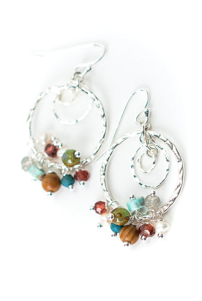 Bloom Sterling Silver Hoop Gemstone Dangle Earrings