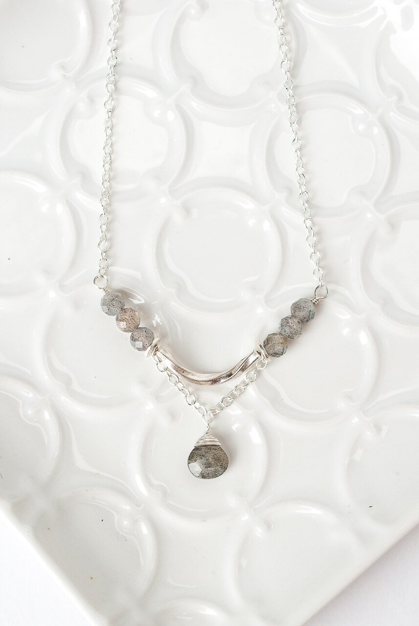 "Blush 15.5-17.5"" Labradorite Focal Necklace"