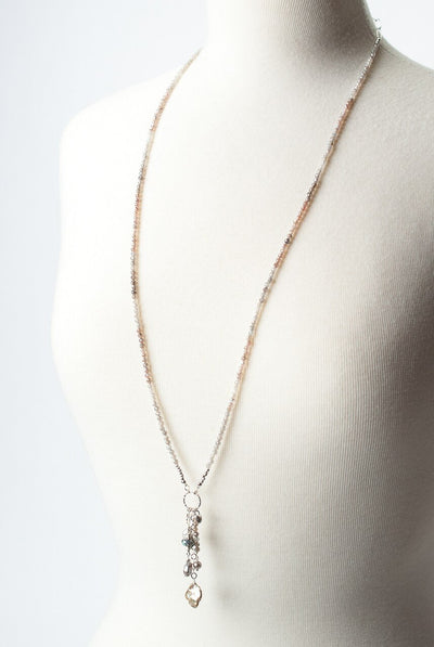 "Blush 33.5-35.5"" Moonstone Tassel Focal Necklace"