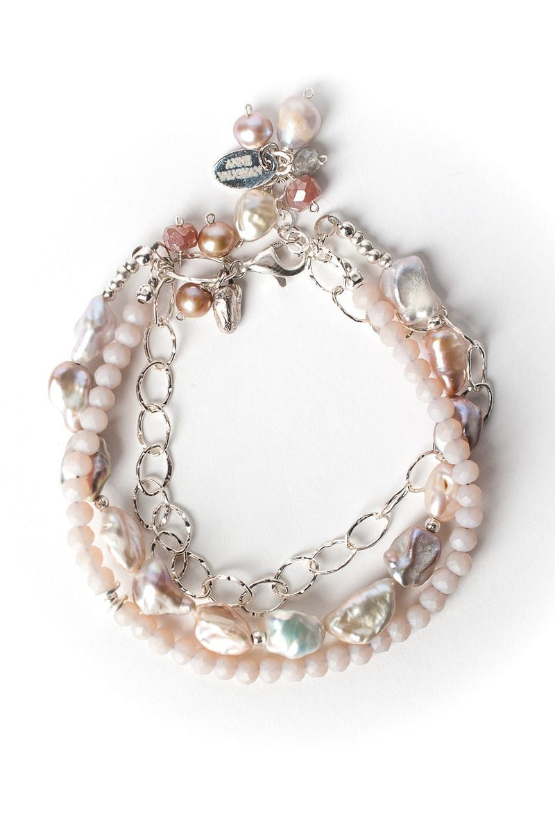 "Blush 7.5-8.5"" Gemstone Multistrand Bracelet"