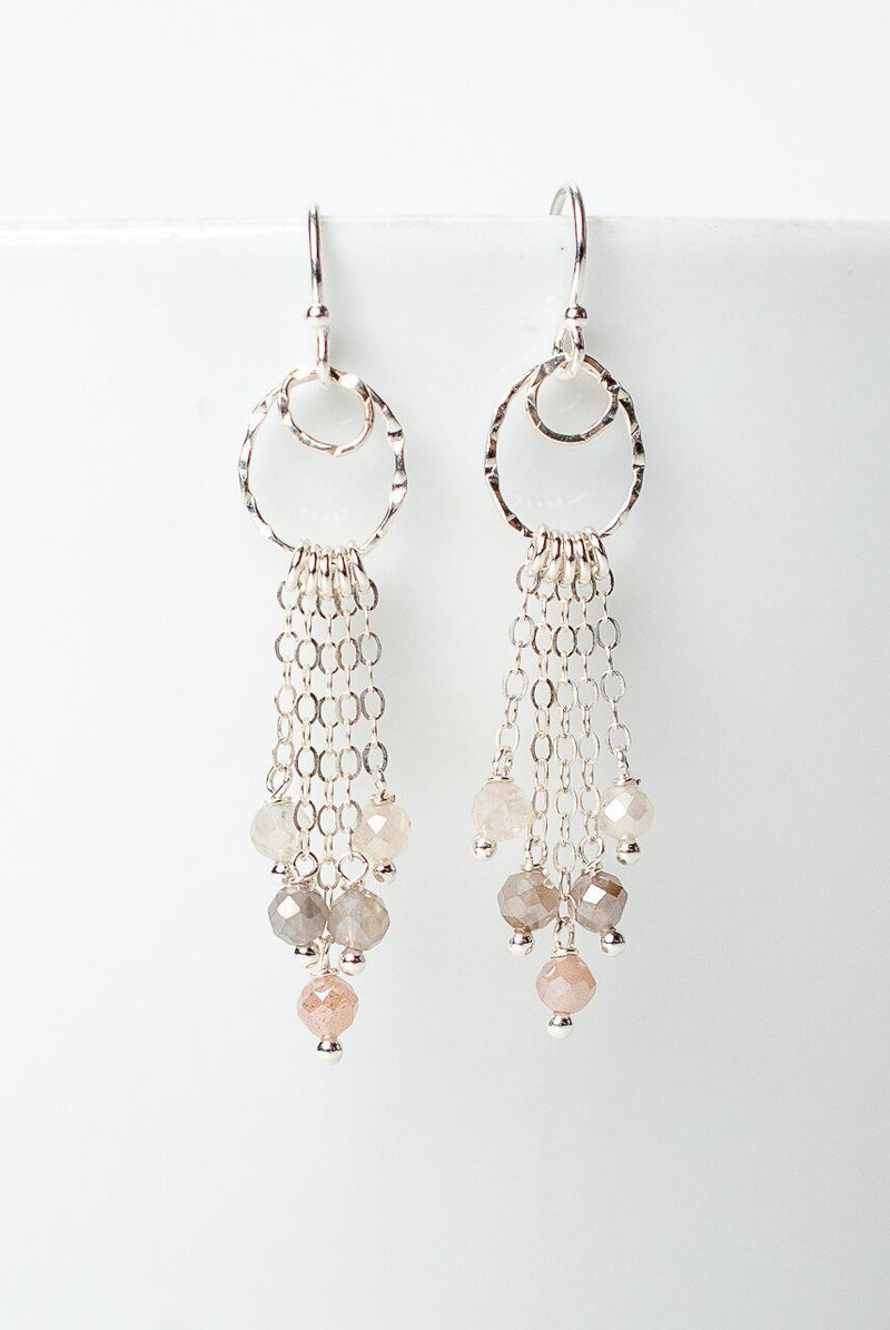 Blush Moonstone Tassel Earrings