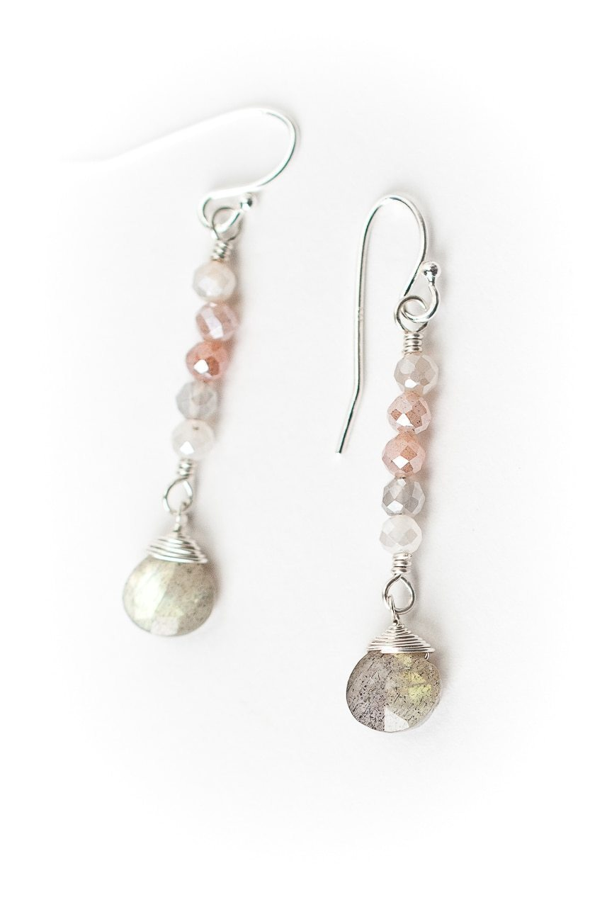 Blush Simple Moonstone Gradiant Earrings