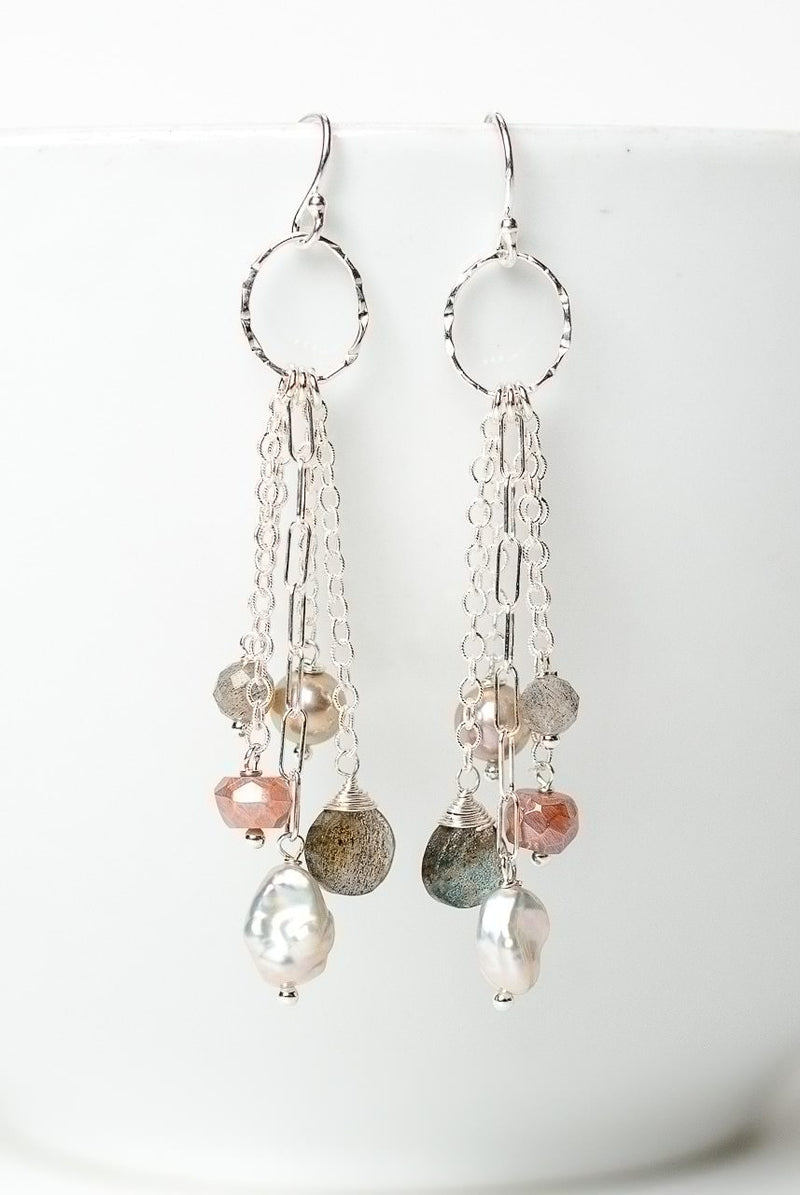 Blush Gemstone Tassel Earrings