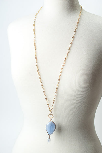 "Blue Lace 35"" Agate Herringbone Pendant Necklace"