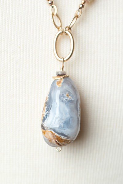 "Blue Lace 28-30"" Agate Pendant Collage Necklace"