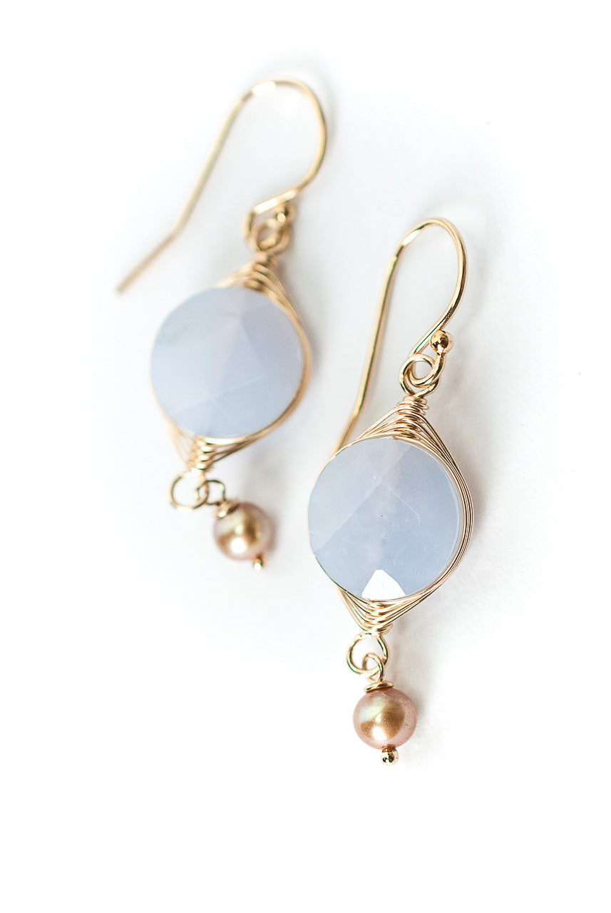 Blue Lace Gold Agate Herringbone Earrings