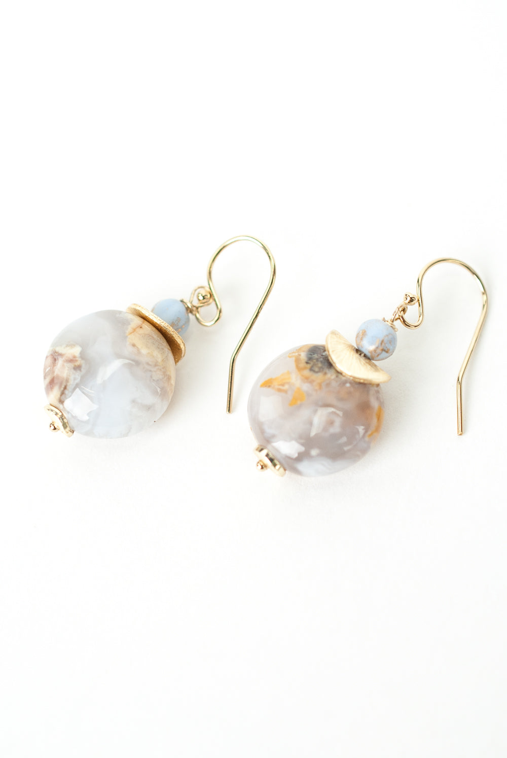 Blue Lace Simple Agate Drop Earrings