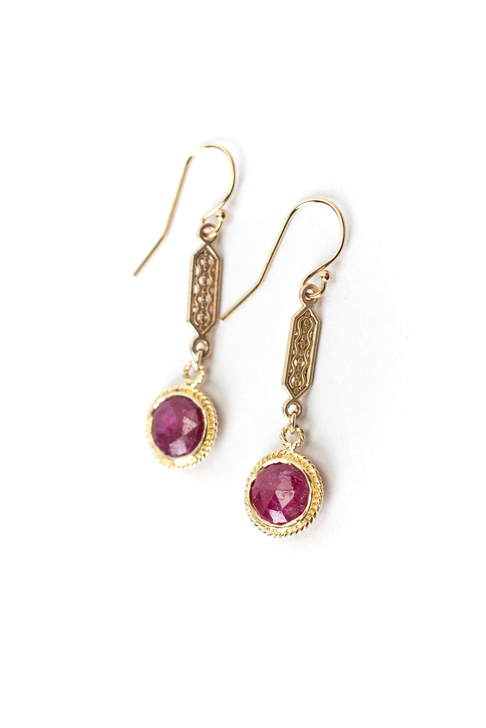 Bouquet Ruby Bezel Dangle Earrings