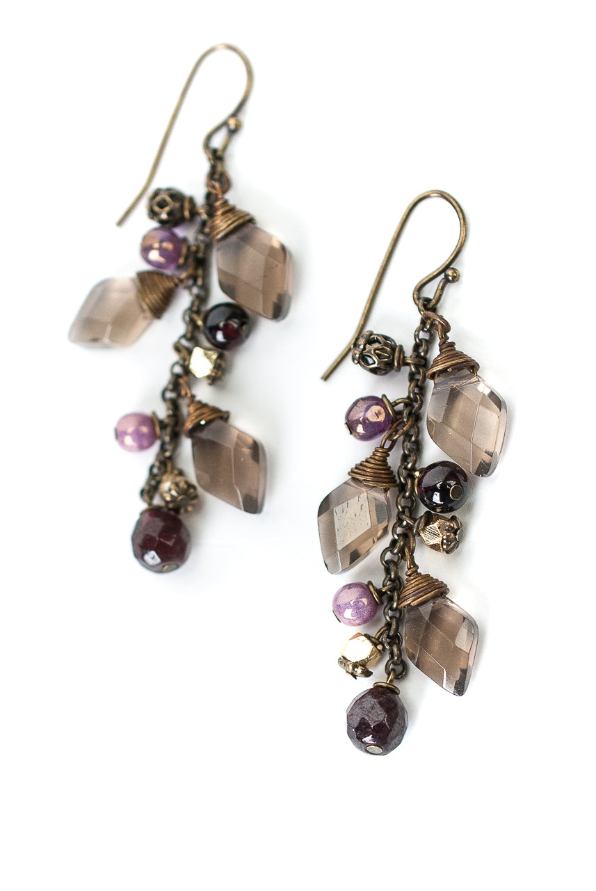 *Cider Smokey Quartz, Garnet, Czech Glass Cluster Earrings