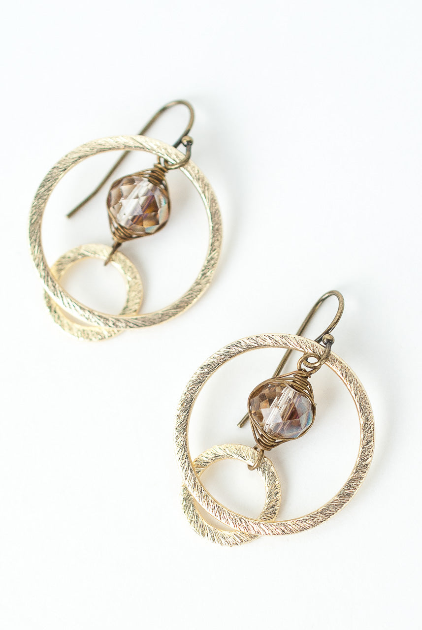 Cider Crystal Herringbone Hoop Earrings