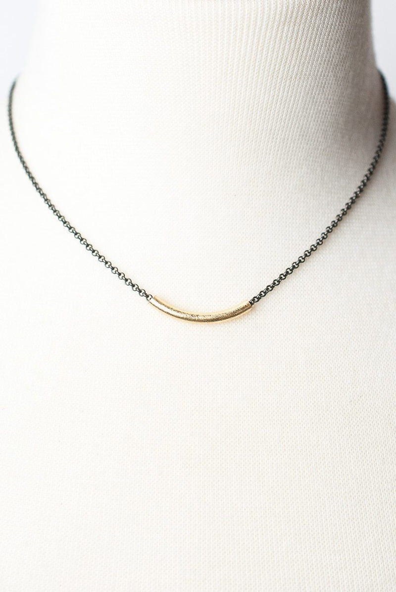 "Cosmos 15.5-17.5"" Simple Matte Gold Bar Necklace"