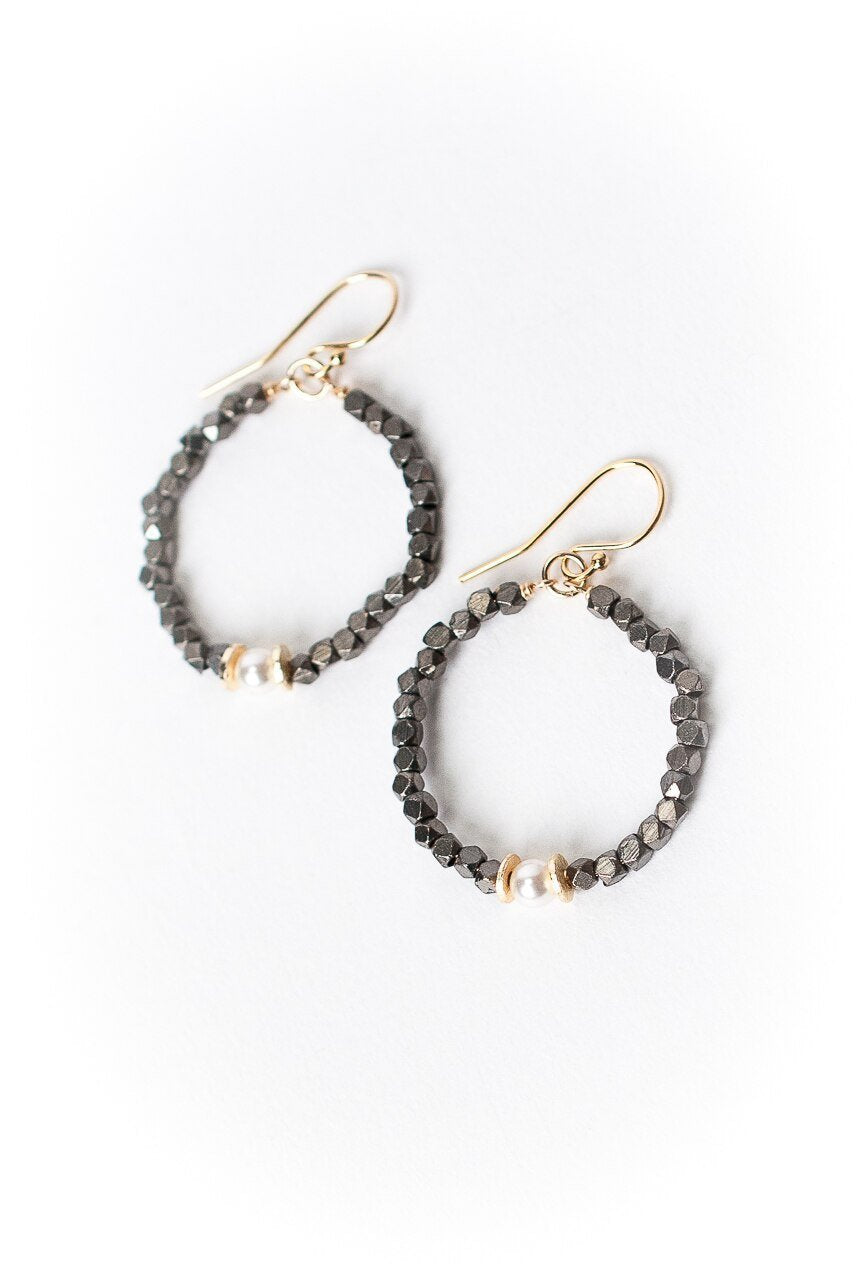 Cosmos Pearl Mixed Metal Hoop Earrings
