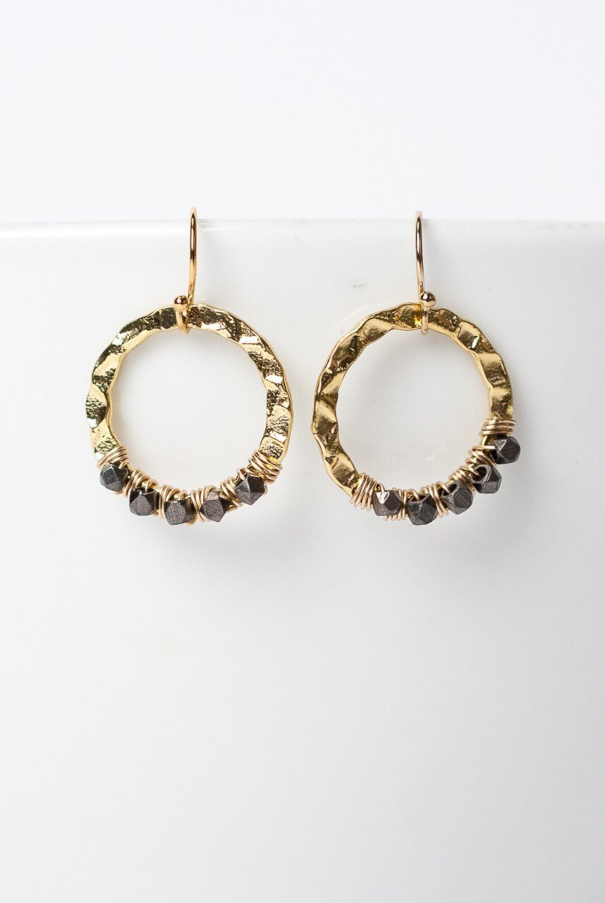 Cosmos Hammered Brass Hoop Earrings