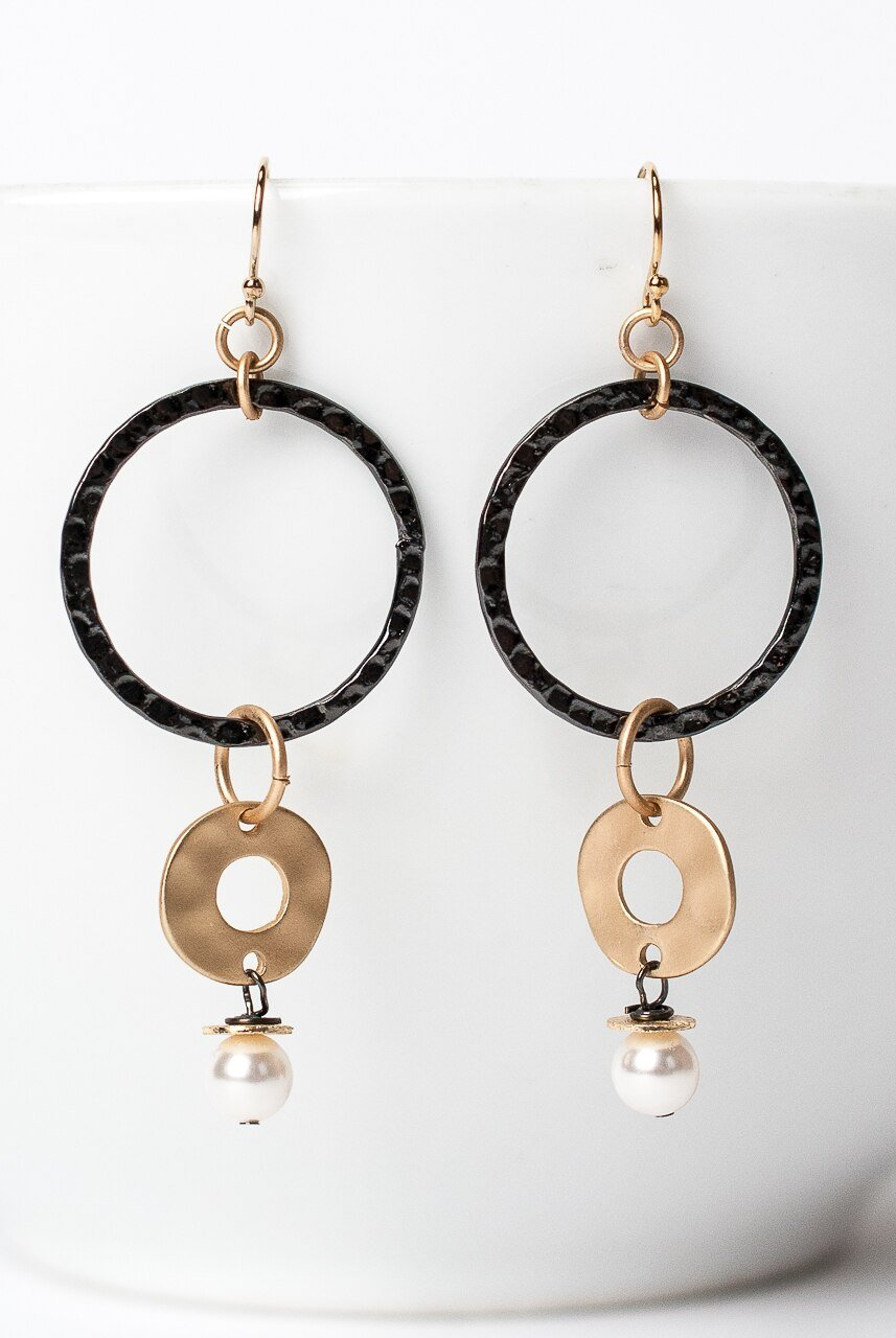 Cosmos Gunmetal Hoop Dangle Earrings