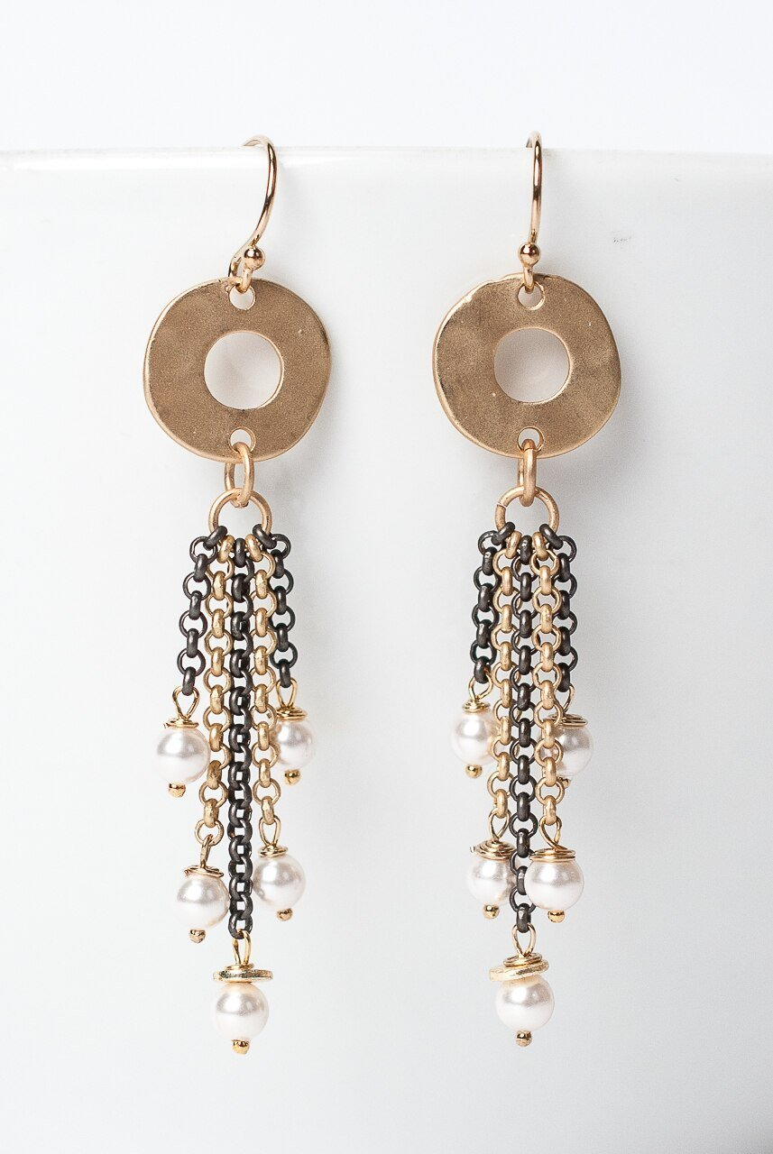 Cosmos Mixed Metal Tassel Earrings