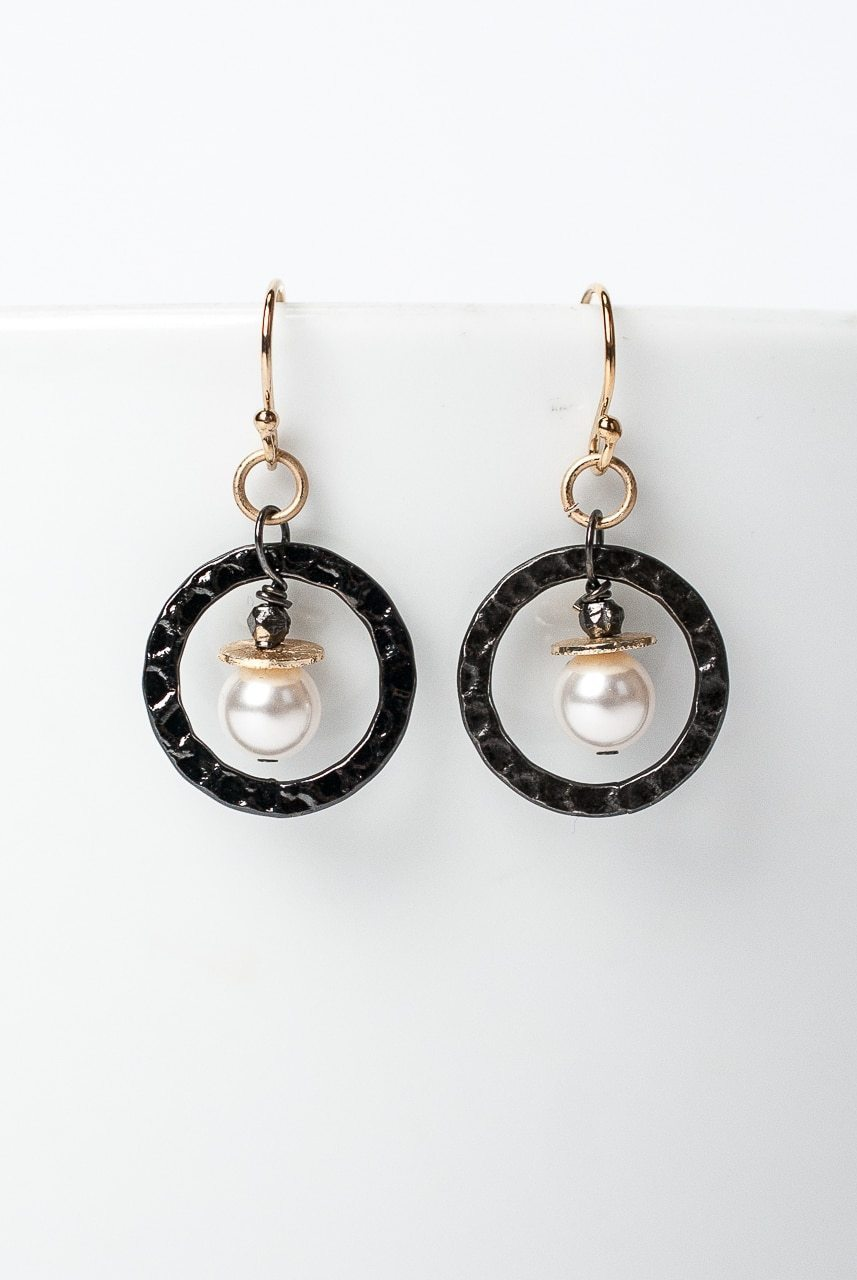 Cosmos Gunmetal Pearl Dangle Hoop Earrings