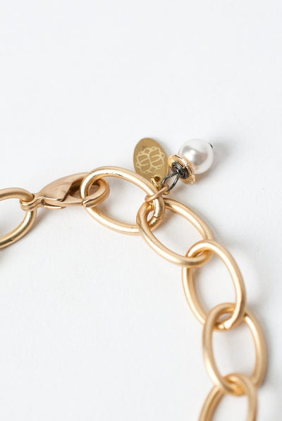 "Cosmos adjustable 8.5"" Chunky Matte Gold Bracelet"