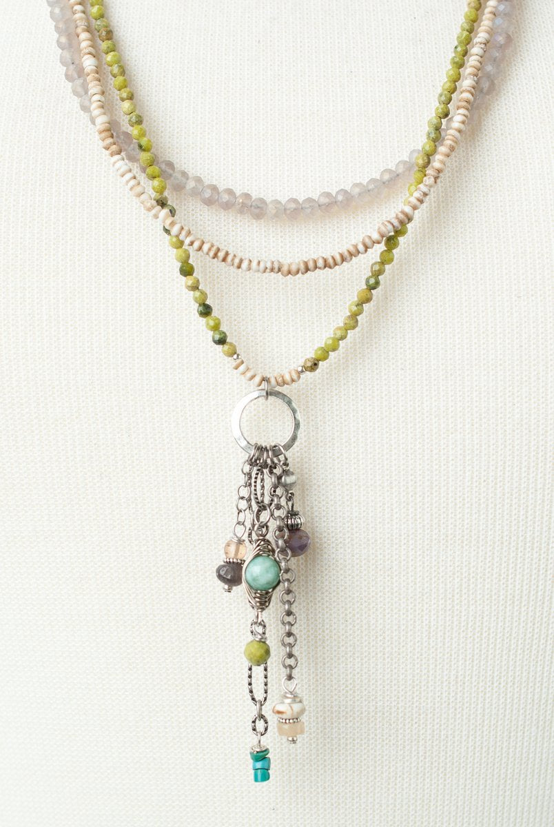 "*Creek Waters 26.5-28.5"" Olive Jade, Turquoise, Amazonite Multistrand Tassel Necklace"