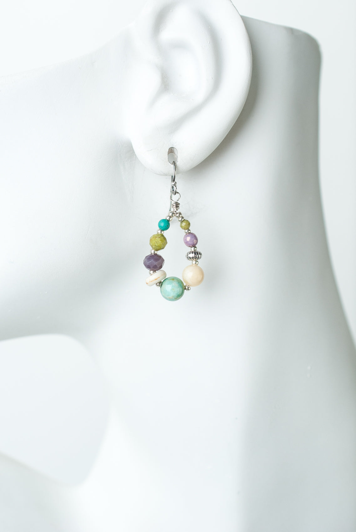 Creek Waters Calcite, Amazonite, Turquoise, Czech Glass Dangle Earrings
