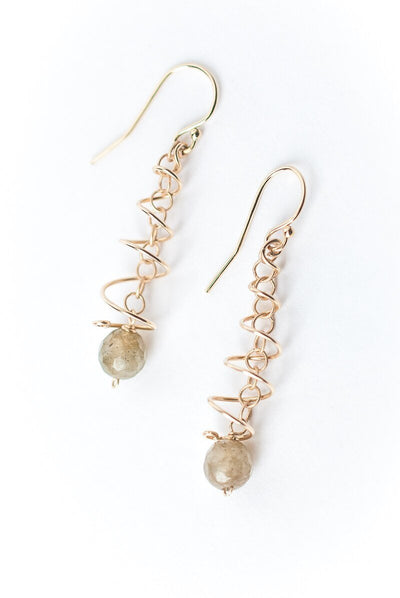 Canyon Labradorite Gold Wire Spiral Earrings