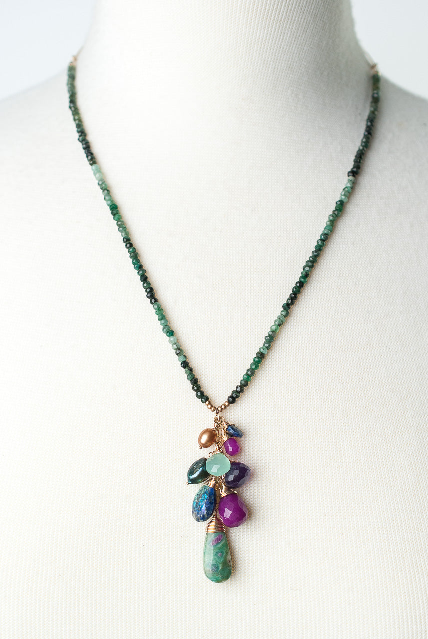 "Carnival 21-23"" Ruby in Zoisite Cluster Pendant Necklace"
