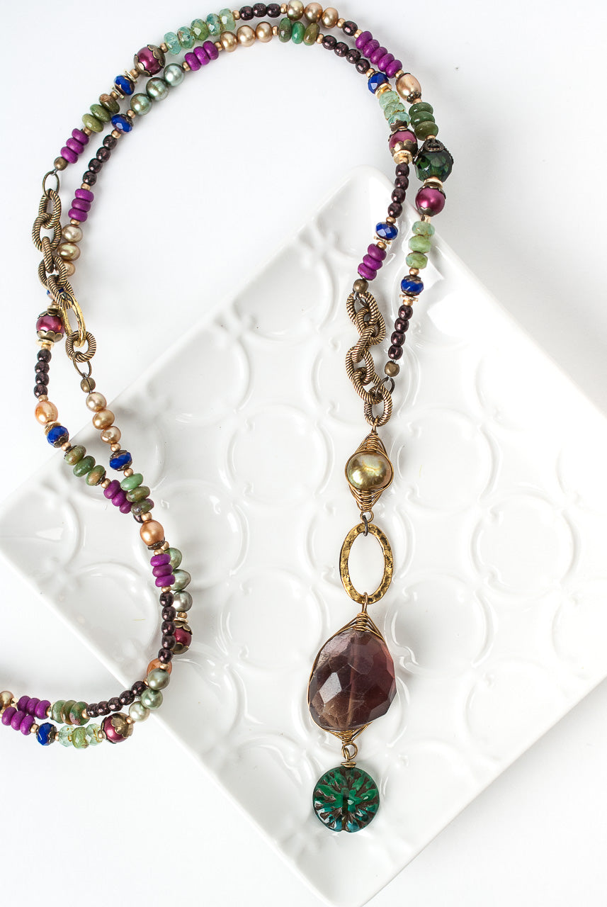 "Carnival 29-31"" Amethyst Pendant Collage Necklace"