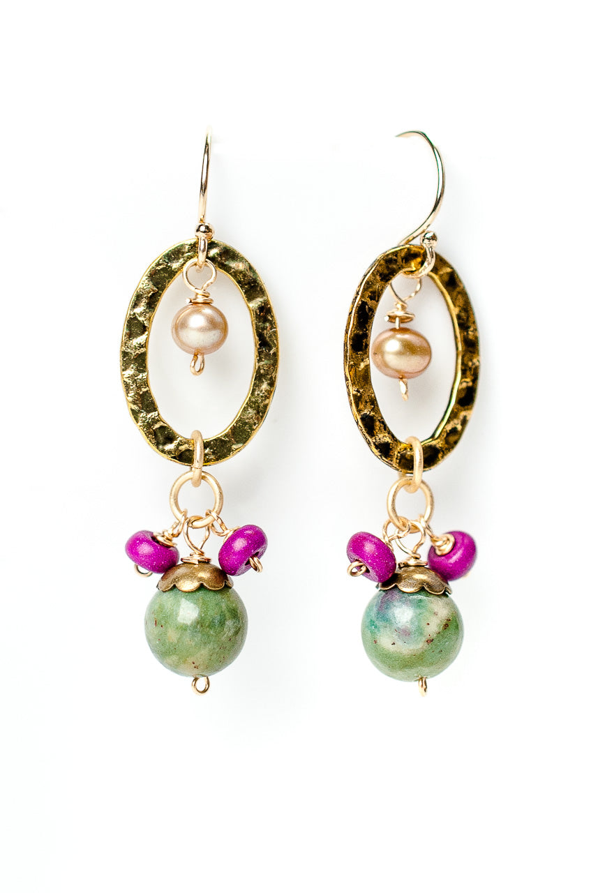 Carnival Ruby in Zoisite Dangle Earrings