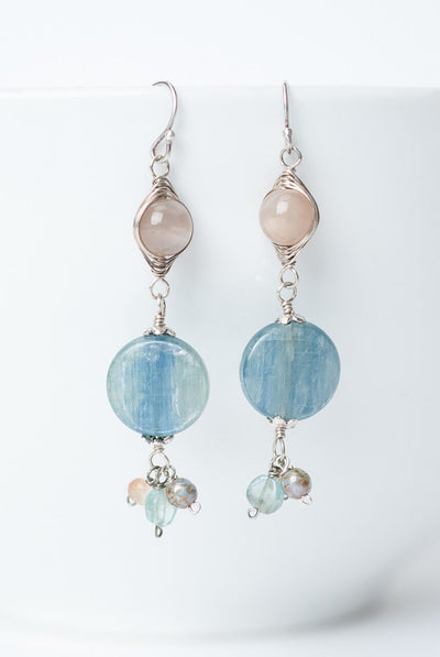 Cascades Peach Moonstone Kyanite Dangle Earrings