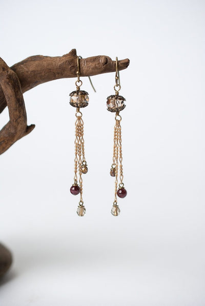 Cider Crystal Tassel Earrings