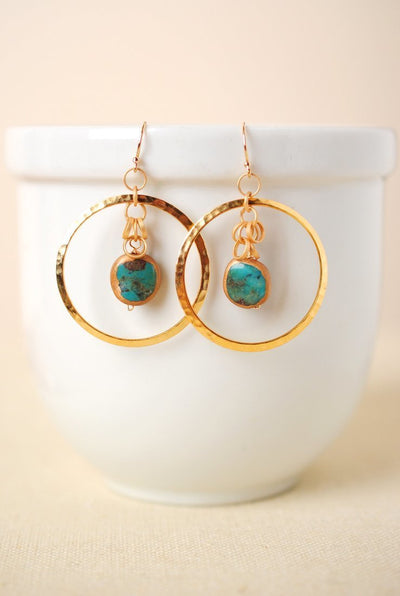 Circle of the Sun Gold Hoop Dangle Earrings