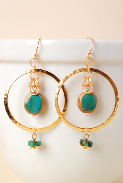 Circle of the Sun Gold & Turquoise Hoop Dangle Earrings