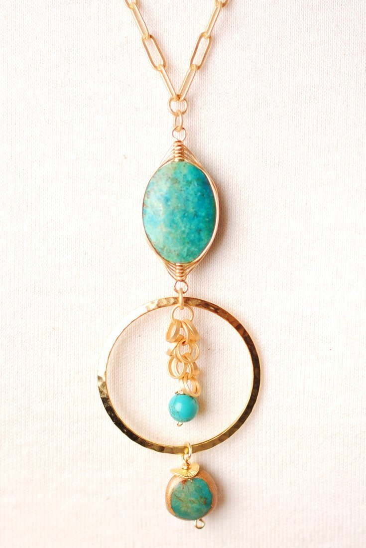 "Circle of the Sun 31"" Gold & Turquoise Pendant Necklace"