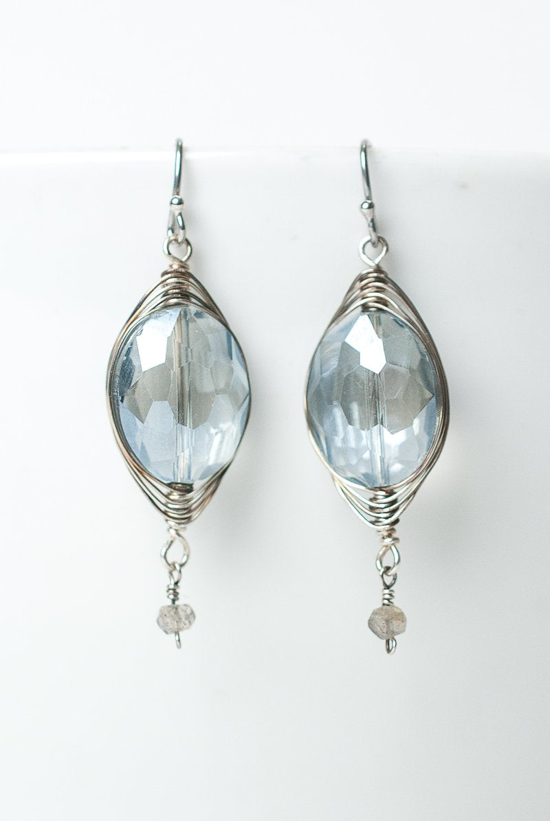 *Claridad Blue Crystal Oval Herringbone Earrings