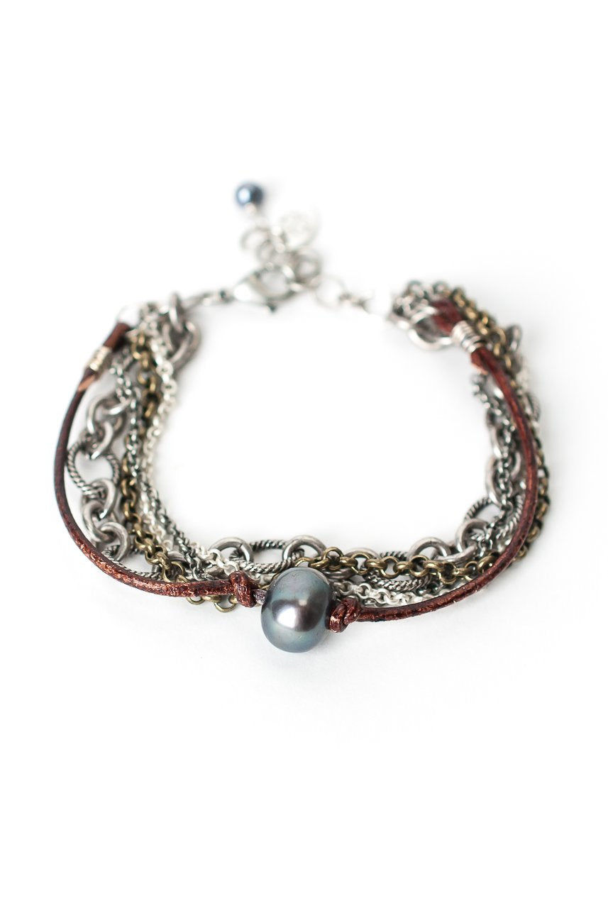 "Claridad 7.5-8.5"" Pearl Leather Multistrand Bracelet"
