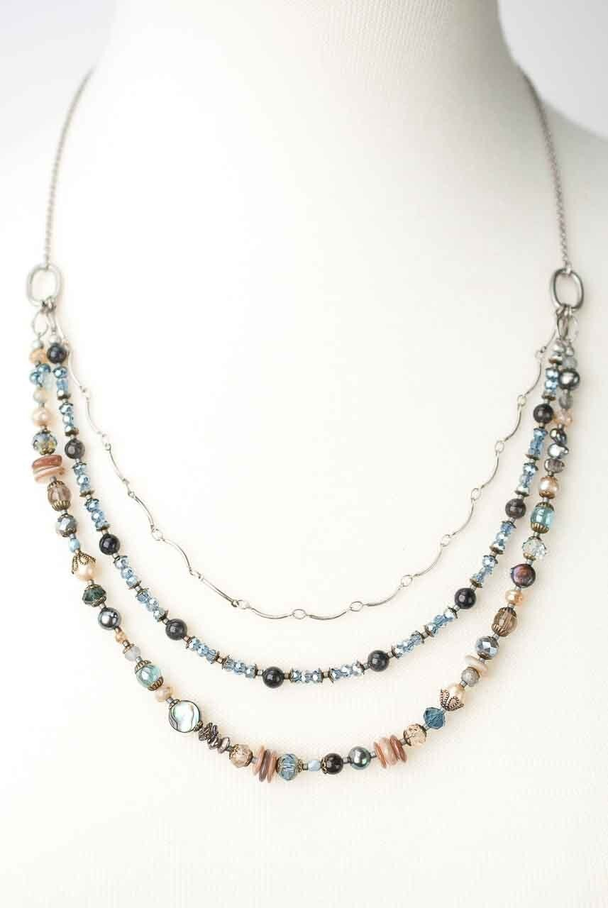"Claridad 22-24""  Multistrand Collage Necklace"