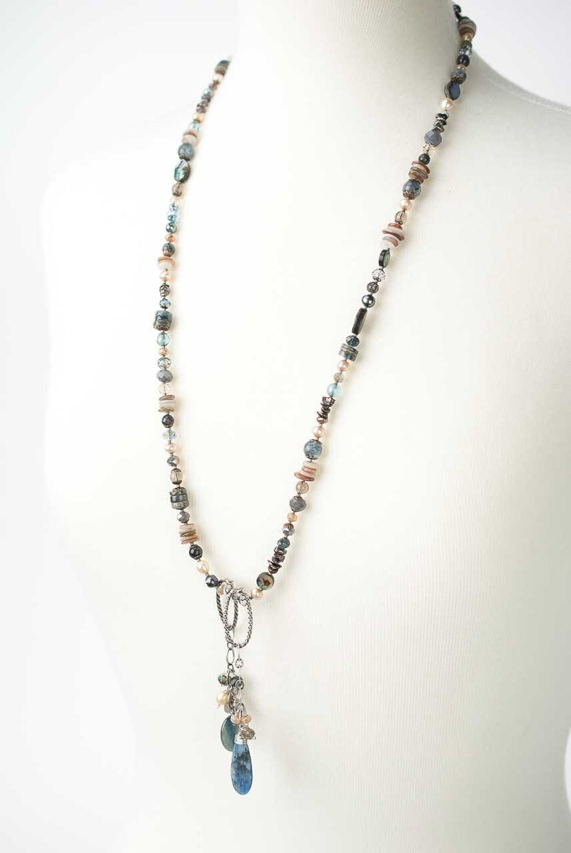 "Claridad 36.5"" Lariat Style Collage Necklace"