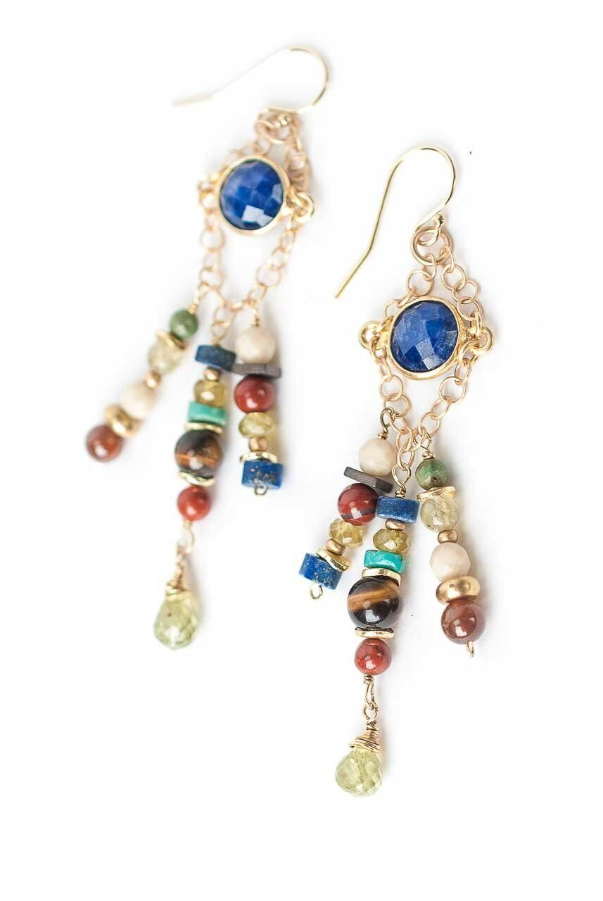 Cleopatra Lapis Bezel Tassel Dangle Earrings
